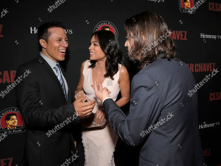 """Yancey Arias, Rosario Dawson and Diego Luna attend the Los Angeles premiere of Pantelion Films and Participant Media """"Cesar Chavez"""" at the at the Chinese Theatre, in Los Angeles"""