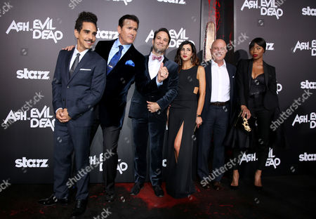 "Ray Santiago, from left, Bruce Campbell, executive producer Craig DiGregorio, Dana DeLorenzo, CEO, Starz, Chris Albrecht, and Jill Marie Jones attend the premiere of STARZ' ""Ash vs. Evil Dead"" at the TCL Chinese Theater, in Los Angeles"