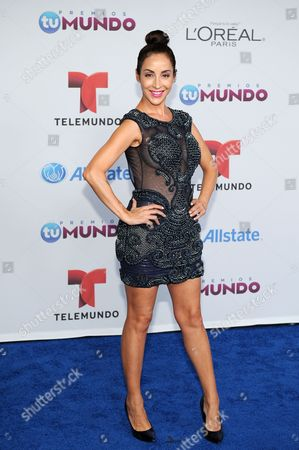 Stock Image of Adriana Lavat arrives for the Premios Tu Mundo Awards at the American Airlines Arena on in Miami, Florida