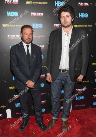 """Co-directors Mike Lerner, left, and Maxim Pozdorovkin attend a special screening of """"Pussy Riot: A Punk Prayer"""" hosted by HBO with The Cinema Society on in New York"""