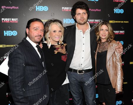 """Director Mike Lerner, left, President of HBO Documentary Films Sheila Nevins, director Maxim Pozdorovkin and VP of HBO Documentary Films Sara Bernstein, right, attend a special screening of """"Pussy Riot: A Punk Prayer"""" hosted by HBO with The Cinema Society on in New York"""