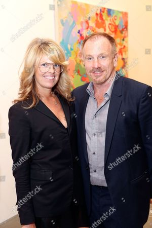 Stock Photo of From left, Madeline Weeks and during the reception for the inaugural exhibition at Regen Projects' new Hollywood gallery, in Los Angeles, Calif