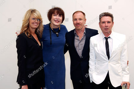 From left, Madeline Weeks, artist Marilyn Minter, artist Jack Pierson and Eugene Sadovoy during the reception for the inaugural exhibition at Regen Projects' new Hollywood gallery, in Los Angeles, Calif