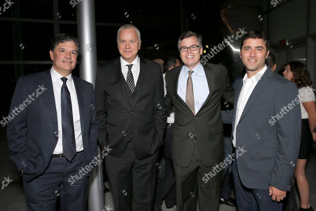 """Producer Dean Vanech, Tim Robbins, Roadside Attractions' Co-President Eric d'Arbeloff and producer David Koplan attend the red carpet at the Los Angeles Premiere of """"Thanks for Sharing"""" at the ArcLight Cinerama Dome on in Los Angeles"""