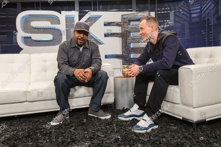 Ice Cube (L) and host DJ Skee on set during filming of SKEE Live during filming of SKEE Live on in Los Angeles