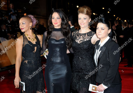 Stock Picture of Tulisa Contostavlos (2L) with X Factor finalists Jade Ellis, Lucy Spraggen and Ella Henderson arrives at the world premiere of Skyfall James Bond 007 at the Royal Albert Hall on in London