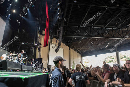 Matthew Tuck, Michael Paget, Michael Thomas and Jamie Mathias with Bullet for My Valentine performs during the SLIPKNOT: Summer's Last Stand Tour at Aaron's Amphitheatre, in Atlanta