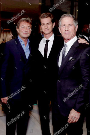 """Patrick Wachsberger, Co-Chairman, Lionsgate Motion Picture Group, Andrew Garfield and Jon Feltheimer, Chief Executive Officer of Lionsgate, seen at Summit Entertainment, a Lionsgate Company, Los Angeles Special Screening of """"Hacksaw Ridge"""" at The Academy's Samuel Goldwyn Theater, in Beverly Hills, Calif"""