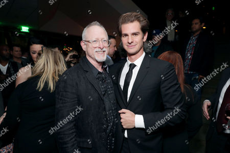 "Screenwriter Robert Schenkkan and Andrew Garfield seen at Summit Entertainment, a Lionsgate Company, Los Angeles Special Screening of ""Hacksaw Ridge"" after party at The Academy Samuel Goldwyn Theater, in Beverly Hills, Calif"