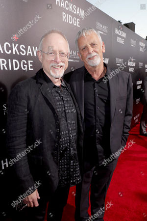 "Screenwriters Robert Schenkkan and Andrew Knight seen at Summit Entertainment, a Lionsgate Company, Los Angeles Special Screening of ""Hacksaw Ridge"" at The Academy's Samuel Goldwyn Theater, in Beverly Hills, Calif"