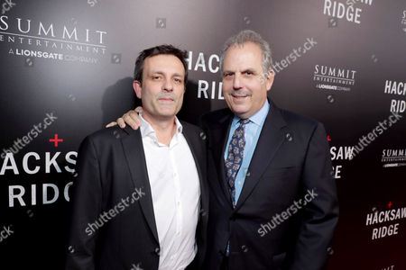 """Composer Rupert Gregson-Williams and Producer Bill Mechanic seen at Summit Entertainment, a Lionsgate Company, Los Angeles Special Screening of """"Hacksaw Ridge"""" at The Academy's Samuel Goldwyn Theater, in Beverly Hills, Calif"""