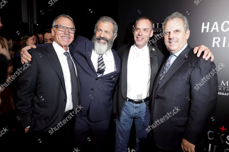 """Producer David Permut, Director Mel Gibson, Producer Terry Benedict and Producer Bill Mechanic seen at Summit Entertainment, a Lionsgate Company, Los Angeles Special Screening of """"Hacksaw Ridge"""" at The Academy's Samuel Goldwyn Theater, in Beverly Hills, Calif"""