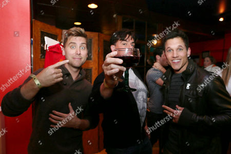 From left, Lance Bass, Tom DeSanto and Mike C. Manning attend Talent Resources suites,, in Park City, Utah
