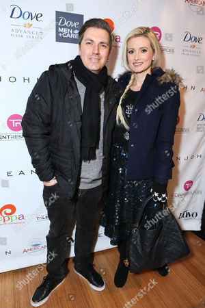 Pasquale Rotella, left, and Holly Madison attend Talent Resources suites,, in Park City, Utah