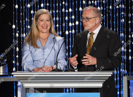 """XXX Co-Chairs of the Television Cares Committee Lynn Roth (left) and John Shaffner speak onstage at the Academy of Television Arts & Sciences Presents """"The 6th Annual Television Honors"""" at the Beverly Hills Hotel on in Beverly Hills, California"""