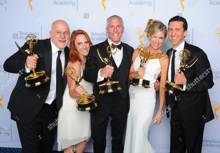 """Chuck Saftler, from left, Maureen Timpa, Brian Katkin, Tava Smiley, and Adam Lewinson, winners of the award for outstanding short format nonfiction program for """"A Tribute to Mel Brooks"""", pose for a portrait at the Television Academy's Creative Arts Emmy Awards at Microsoft Theater, in Los Angeles"""