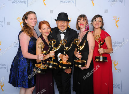 Katie Rorick, from left, Tamara Krinsky, Bernie Su, Alexandra Edwards, and Tracey Bitterrolf pose for a portrait at the Television Academy's Creative Arts Emmy Awards at Microsoft Theater, in Los Angeles