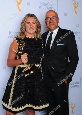 Nancy Dubuc, left, and Michael Kizilbash pose for a portrait at the Television Academy's Creative Arts Emmy Awards at Microsoft Theater, in Los Angeles