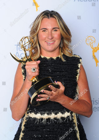 Nancy Dubuc, winner of the Governor's Award, poses for a portrait at the Television Academy's Creative Arts Emmy Awards at Microsoft Theater, in Los Angeles
