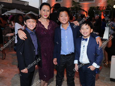 Forrest Wheeler, from left, Lucille Soong, Hudson Yang and Albert Tsai seen at the Television Academy's 67th Emmy Awards Dynamic and Diverse Nominee Reception at the Montage Beverly Hills, in Beverly Hills, Calif