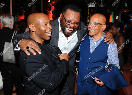 Keven Eubanks, from left, Petri Hawkins-Byrd and Rickey Minor seen at the Television Academy's 67th Emmy Awards Dynamic and Diverse Nominee Reception at the Montage Beverly Hills, in Beverly Hills, Calif