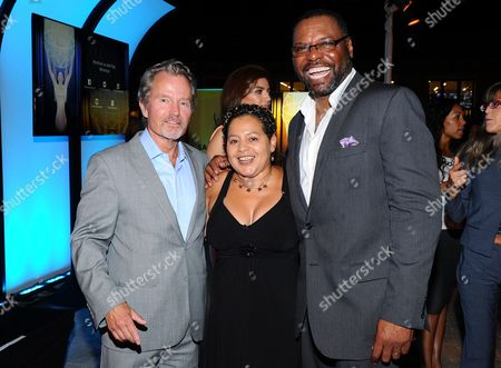 John Savage, from left, Sherri G. Sneed and Petri Hawkins-Byrd seen at the Television Academy's 67th Emmy Awards Dynamic and Diverse Nominee Reception at the Montage Beverly Hills, in Beverly Hills, Calif