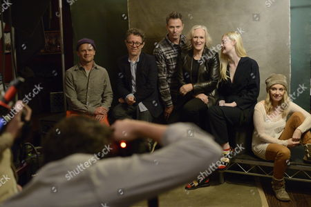 From left, Flea, Jeff Preiss, Tim Daly, Glenn Close, Elle Fanning, and Amy-Jo Albandy seen at The Hollywood Reporter Lounge, on in Park City, Utah