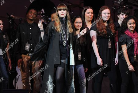 "Singer Diane Birch, center, and choir perform at ""The Music of Prince"" tribute concert at Carnegie Hall on in New York"