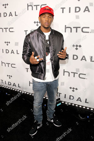 Hit-Boy arrives at the Tidal X: 1020 Amplified by HTC concert at the Barclays Center on in Brooklyn, New York