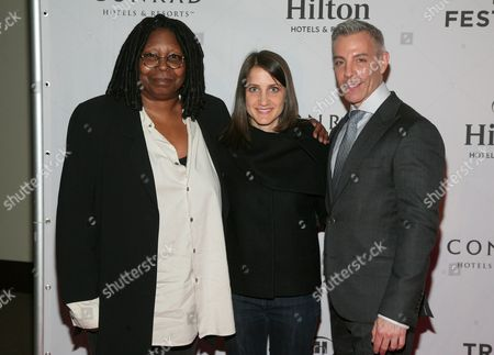 Stock Image of From left, actress Whoopi Goldberg and filmmakers Bess Kargman and Tom Leonardis attend the Tribeca Film Festival Awards on in New York