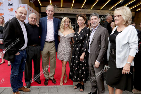 "Producer Christopher Meledandri, Ron Meyer, Vice Chairman of NBCUniversal, Brian L. Roberts, Chairman and CEO of Comcast Corporation, Reese Witherspoon, Donna Langley, Chairman of Universal Pictures, Jeff Shell, Chairman of Universal Filmed Entertainment Group, and Producer Janet Healy seen at Universal Pictures ""Sing"" at the 2016 Toronto International Film Festival, in Toronto"