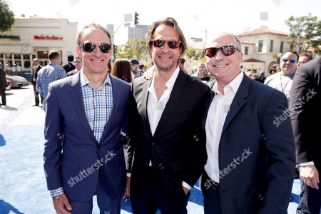 Composers Mychael Danna, Jeff Danna and Producer Brad Lewis seen at Warner Bros. Pictures and Warner Animation Group World Premiere of STORKS at the Regency Village Theater, in Los Angeles