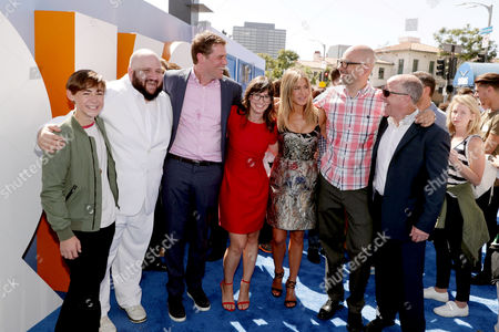 Stock Picture of Anton Starkman, Stephen Kramer Glickman, Co-Director/Writer/Producer Nicholas Stoller, Katie Crown, Jennifer Aniston, Co-Director Doug Sweetland and Producer Brad Lewis seen at Warner Bros. Pictures and Warner Animation Group World Premiere of STORKS at the Regency Village Theater, in Los Angeles