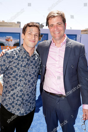 Andy Samberg and Co-Director/Writer/Producer Nicholas Stoller seen at Warner Bros. Pictures and Warner Animation Group World Premiere of STORKS after party at the Regency Village Theater, in Los Angeles