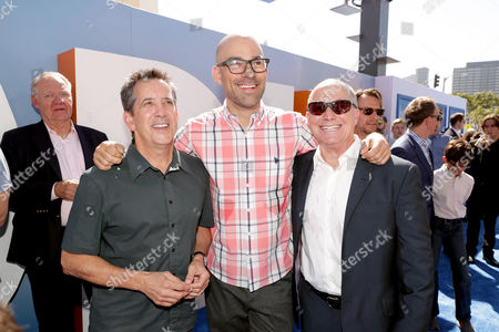 Stock Photo of Christopher deFaria, President, Animation, Digital Production and Visual Effects, Warner Bros. Pictures, Co-Director Doug Sweetland and Producer Brad Lewis seen at Warner Bros. Pictures and Warner Animation Group World Premiere of STORKS at the Regency Village Theater, in Los Angeles