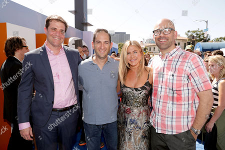 Co-Director/Writer/Producer Nicholas Stoller, Greg Silverman, President, Creative Development and Worldwide Production, Warner Bros. Pictures, Jennifer Aniston and Co-Director Doug Sweetland seen at Warner Bros. Pictures and Warner Animation Group World Premiere of STORKS at the Regency Village Theater, in Los Angeles