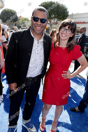 Jordan Peele and Katie Crown seen at Warner Bros. Pictures and Warner Animation Group World Premiere of STORKS at the Regency Village Theater, in Los Angeles
