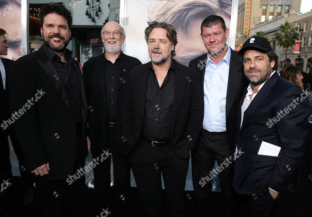 """Producer Keith Rodger, Producer Andrew Mason, Director Russell Crowe, Executive Producer James Packer and Executive Producer Brett Ratner seen at Warner Bros. Premiere of """"The Water Diviner"""", in Los Angeles"""