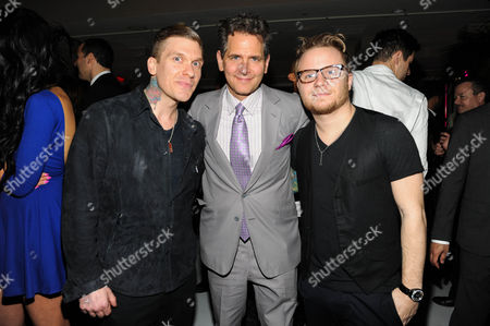 Brent Smith, Craig Kallman, and Zach Myers seen at Warner Music Group's Annual Grammy Celebration, on in West Hollywood Calif
