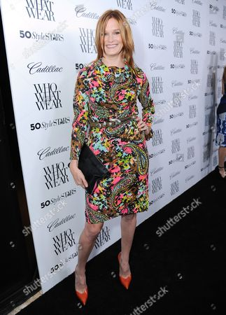 """Nicholle Tom arrives at Who What Wear + Cadillac """"Style Driven: 50 Most Stylish"""" with host Nicole Richie at The London West Hollywood hotel, in West Hollywood, Calif"""