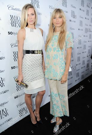 """Elizabeth Minett, left, and Natalie Decleve arrive at Who What Wear + Cadillac """"Style Driven: 50 Most Stylish"""" with host Nicole Richie at The London West Hollywood hotel, in West Hollywood, Calif"""