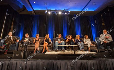 Ted Raimi, Danny Hicks, Sarah Berry, Kassie De Paiva, Tom Sullivan, Ellen Sandress, Betsy Baker, Theresa Tilly and Bruce Campbell during the Evil Dead I & II Reunion Q&A panel at the Wizard World Chicago Comic-Con, in Chicago