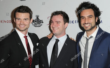 """Daniel Gillies, from left, John Lyons Murphy, and Paiman Kalayeh arrives at the world premiere of """"Kingdom Come"""", in Los Angeles"""