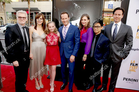 """Producer Rob Cowan, Frances O'Connor, Madison Wolfe, Patrick Wilson, Vera Farmiga, Director/Writer/Producer James Wan, Producer Peter Safran, seen at World Premiere of New Line Cinema's """"The Conjuring 2"""" at 2016 LA Film Festival, in Los Angeles"""