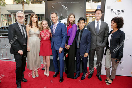 """Producer Rob Cowan, Frances O'Connor, Madison Wolfe, Patrick Wilson, Vera Farmiga, Director/Writer/Producer James Wan, Producer Peter Safran and LA Film Festival Director Stephanie Allain seen at World Premiere of New Line Cinema's """"The Conjuring 2"""" at 2016 LA Film Festival, in Los Angeles"""