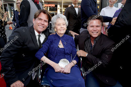 """Writer Chad Hayes, Lorraine Warren and Writer Carey Hayes seen at World Premiere of New Line Cinema's """"The Conjuring 2"""" at 2016 LA Film Festival, in Los Angeles"""