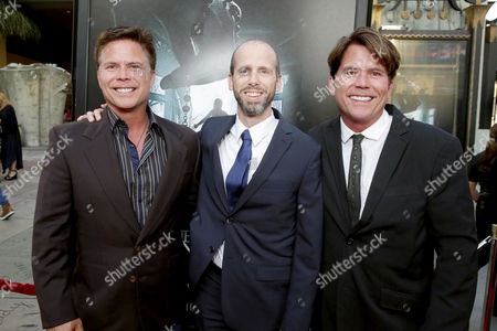 """Stock Photo of Writers Carey Hayes, David Leslie Johnson and Chad Hayes seen at World Premiere of New Line Cinema's """"The Conjuring 2"""" at 2016 LA Film Festival, in Los Angeles"""
