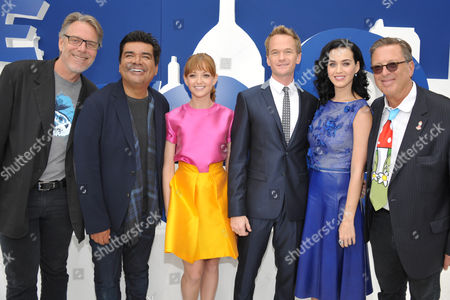 "From left, director Raja Gosnell, actors George Lopez, Jayma Mays, Neil Patrick Harris, Katy Perry and producer Jordan Kerner arrive to the world premiere of ""The Smurfs 2"" at the Regency village Theatre on in Los Angeles"