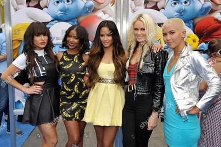 "From left, Paula Van Oppen, Lauren Bennett, Emmalyn Estrada, Simone Battle, and Natasha Slayton of the group G.R.L. arrive to the world premiere of ""The Smurfs 2"" at the Regency Village Theatre on in Los Angeles"