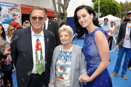 "From right, actress and singer Katy Perry, her grandmother Ann Hudson, and producer Jordan Kerner arrive to the world premiere of ""The Smurfs 2"" at the Regency village Theatre on in Los Angeles"